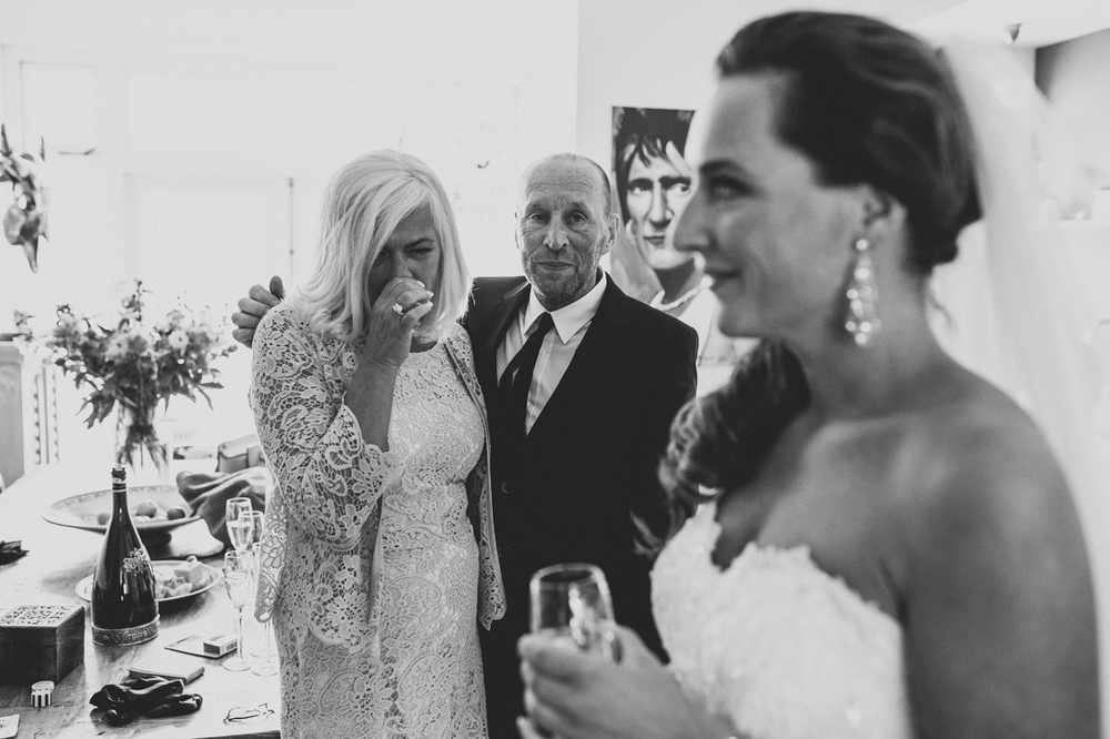 The mother of the bride getting emotional after first look