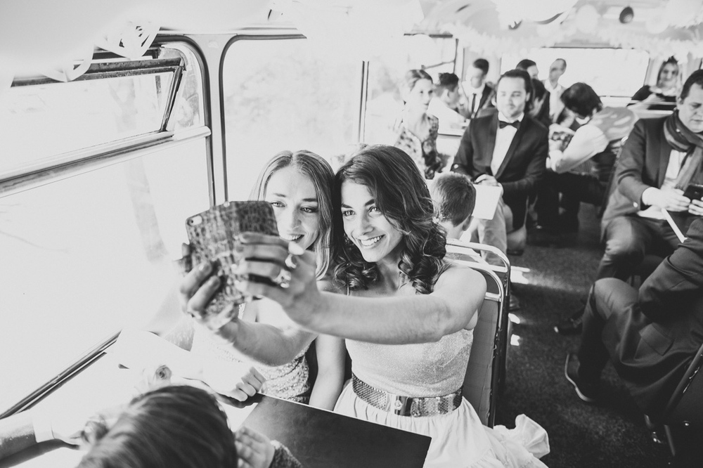 Selfie in a double decker bus during a wedding