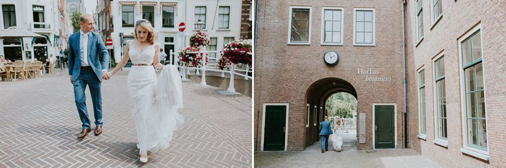 bride and groom walking in the old center