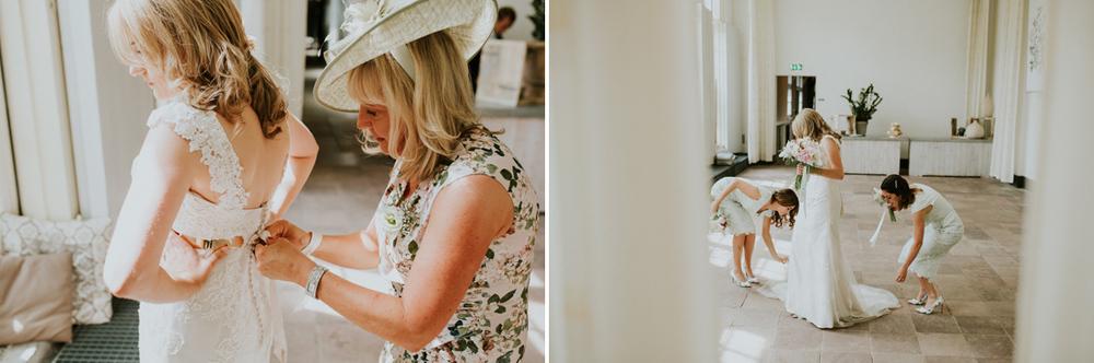 bride getting ready at hortus botanicus leiden