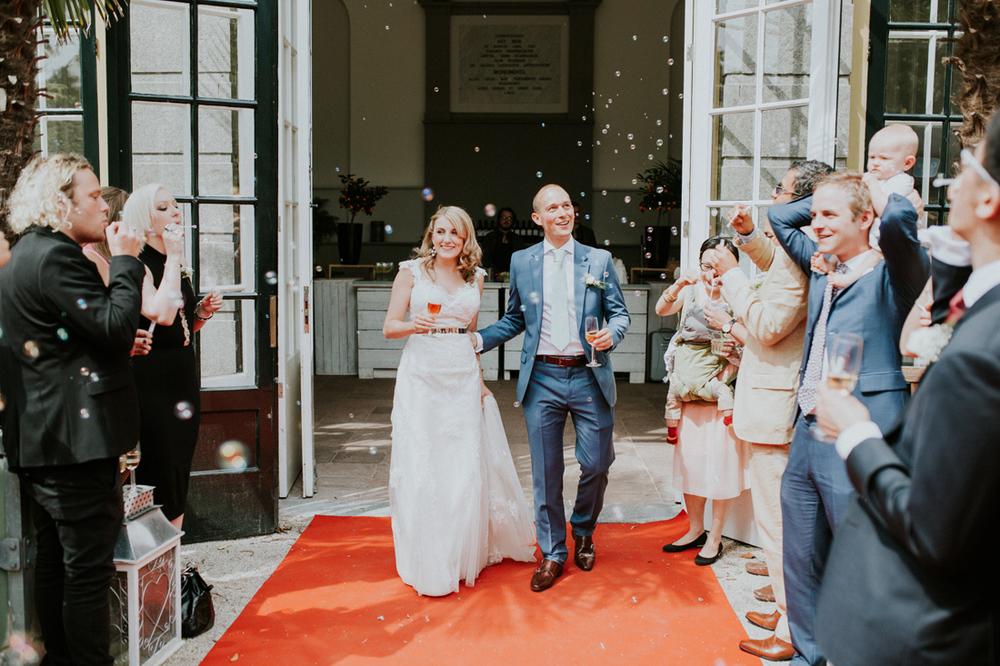 newly weds walking out for the first time in leiden