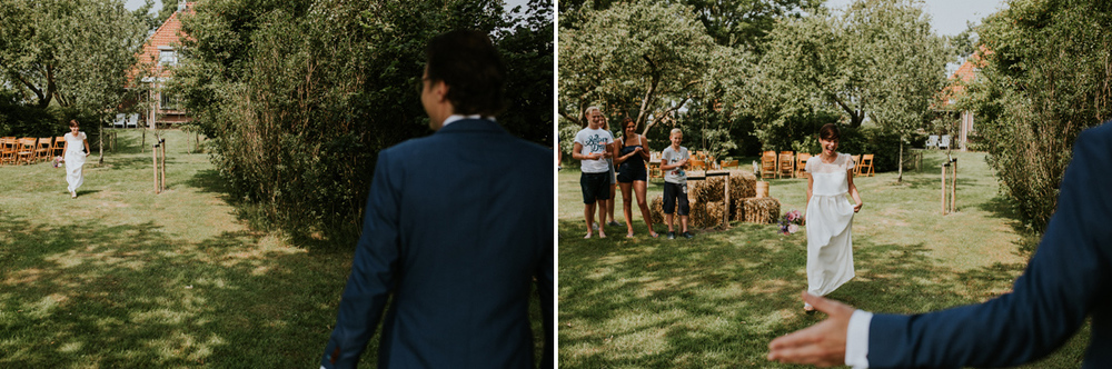 bride and groom and their first look at it flinke boskje