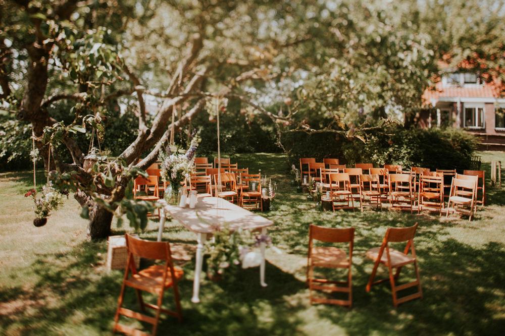 vintage wedding setting at rebuilt farm
