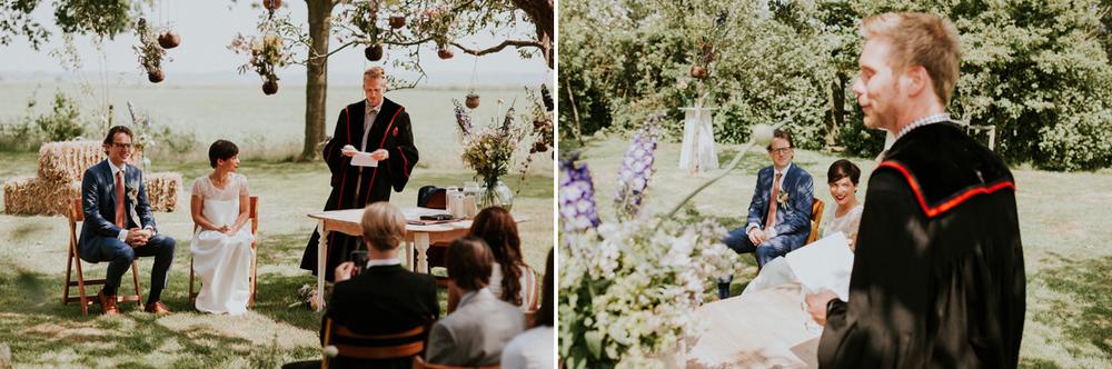 ceremony at vintage farm under trees
