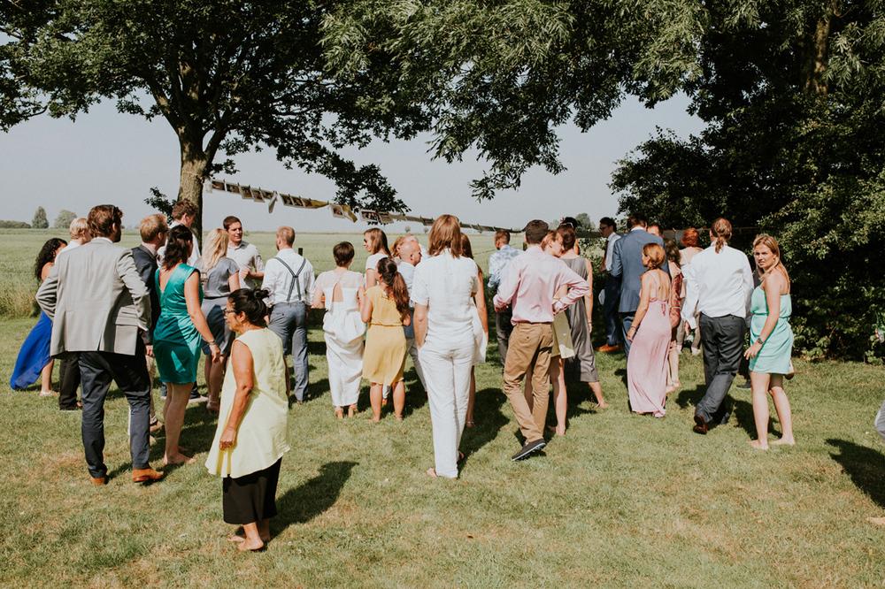 people gathering at vintage wedding in friesland