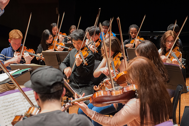 Purcell School pupils rehearsing at the South Bank Centre, 2014