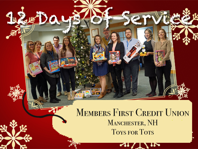 Employees from Members First Credit Union in Manchester, NH celebrate service by supporting the U.S. Marine Corps Reserve Toys for Tots Program.