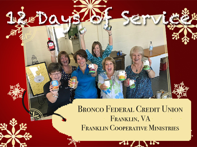 Bronco Federal Credit Union's Helping Hands display canned food donations from their summer food drive to support Franklin Cooperative Ministries.