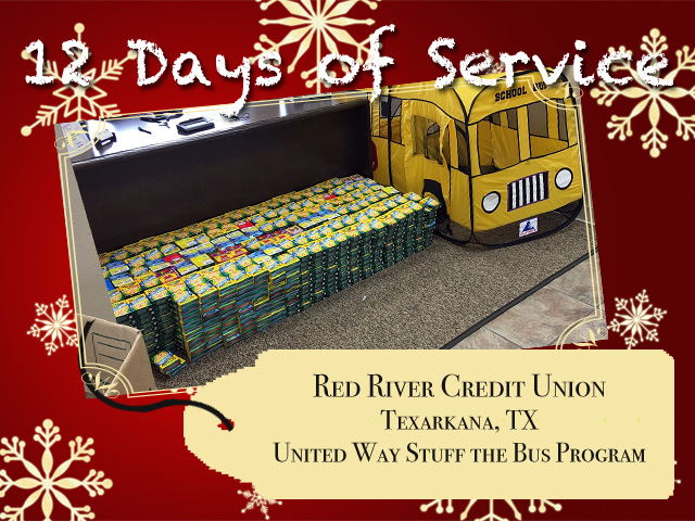 Red River Credit Union continues the tradition of people helping people through the United Way Stuff a Bus Program.
