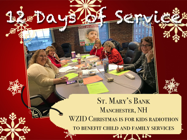 Employees of St. Mary's Bank man the phones at the WZID Christmas is for Kids Radiothon to benefit Child and Family Services in New Hampshire.