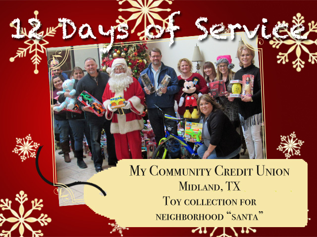 "Employees of My Community Credit Union collected toys for ""Santa"" to deliver to neighborhood children."