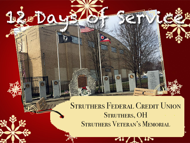 The Veteran's Memorial for which Struthers Federal Credit Union raised funds.