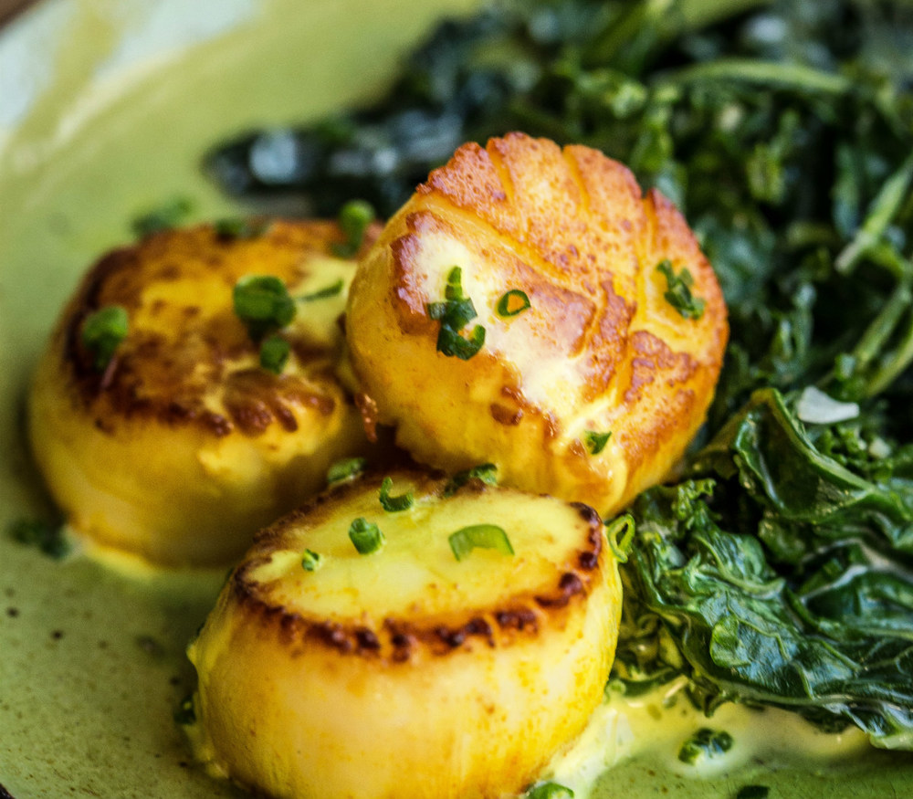 Pan-Seared Curried Scallops - Rebecca Katz