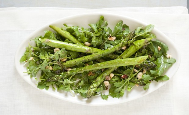 Roasted Asparagus Salad with Arugula and Hazelnuts - Rebecca Katz
