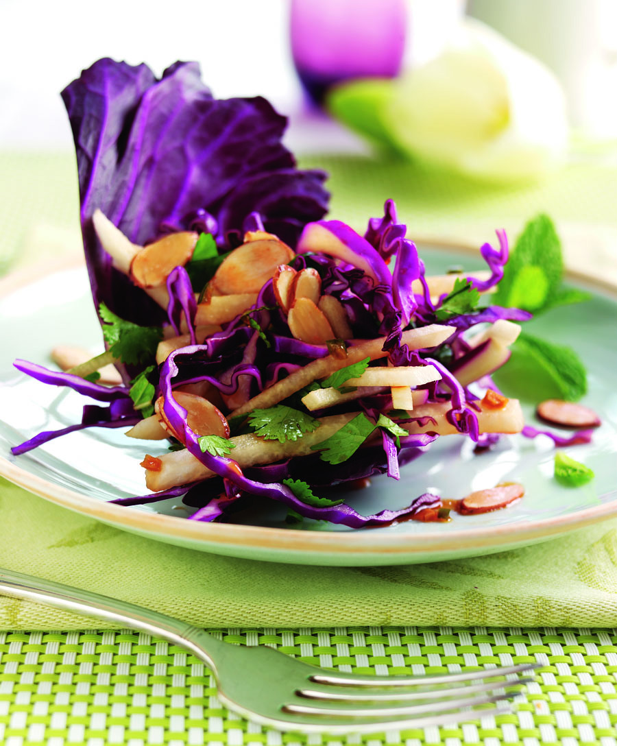 Jicama Cabbage Salad with Mint and Cilantro Tossed with Sweet and Sour Asian Dressing
