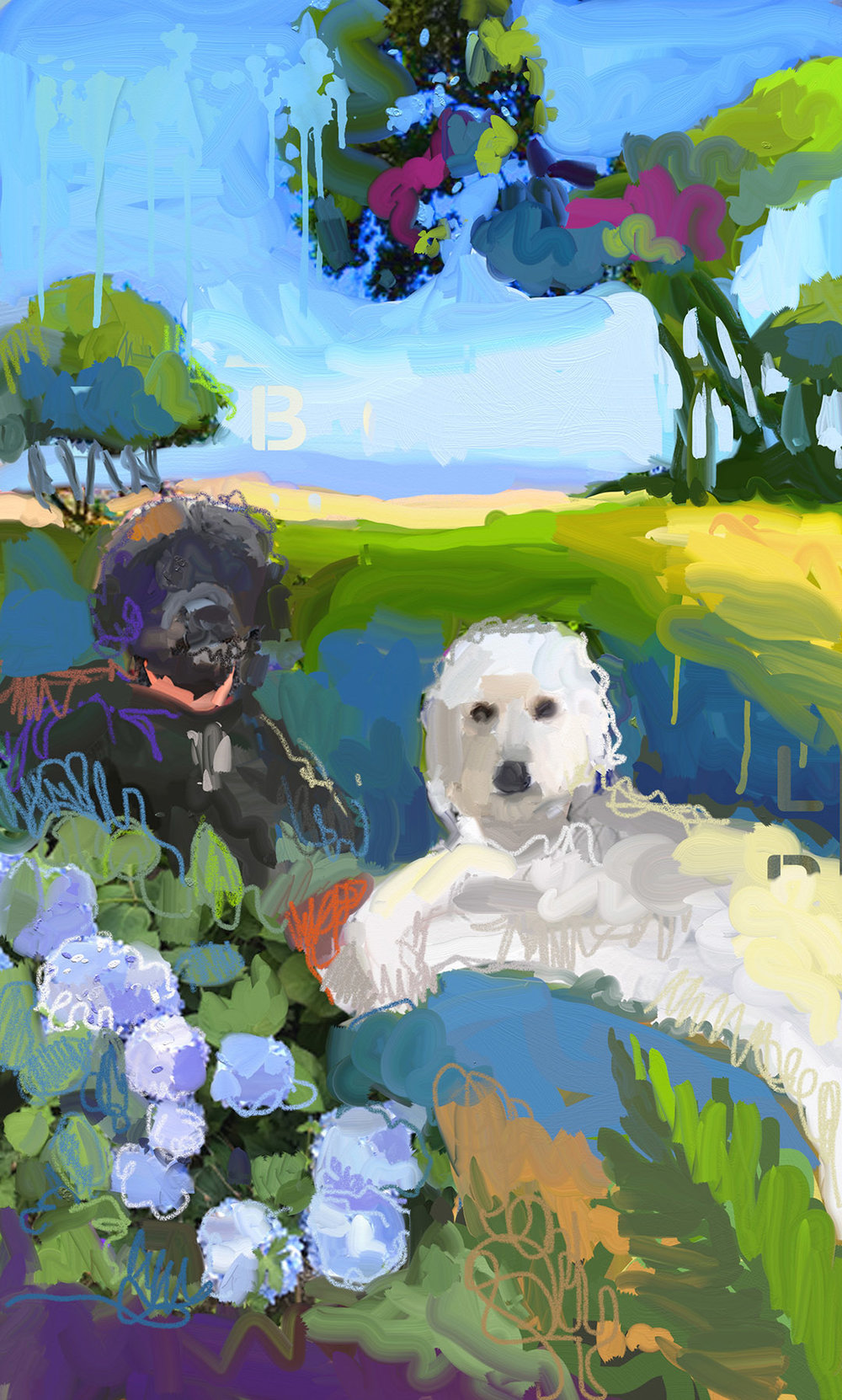 Our girls! We had Lola and Blossom's portrait painted by   the wonderful California artist Andrew Faulkner.