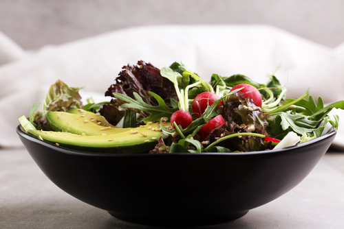 Avocado salad with radishes