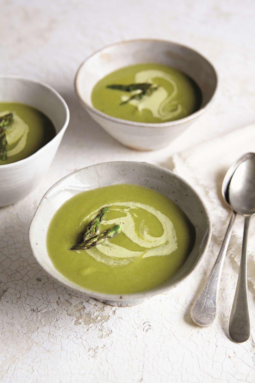 Roasted Asparagus Soup with Pistachio Cream - Rebecca Katz