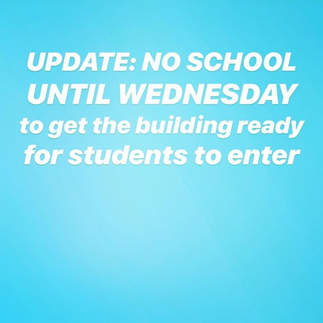 UPDATE: No school until Wednesday Feb. 13th to get the building ready for students.