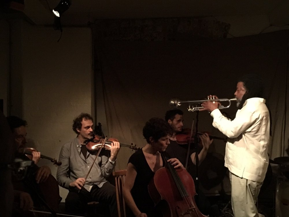 Marcio Mattos, Alison Blunt, Luiz Moretto, Paloma Carrasco, Benedict Taylor, Wadada Leo Smith                          photo by Karla Bessa