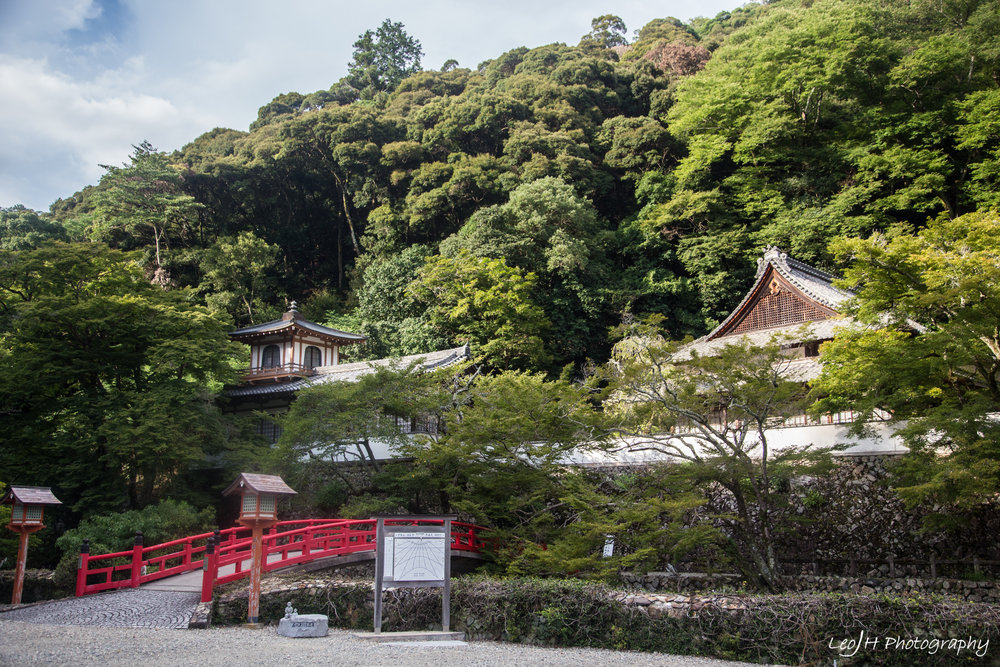 Part of Ryuanji Shrine, stretching across both sides of the river