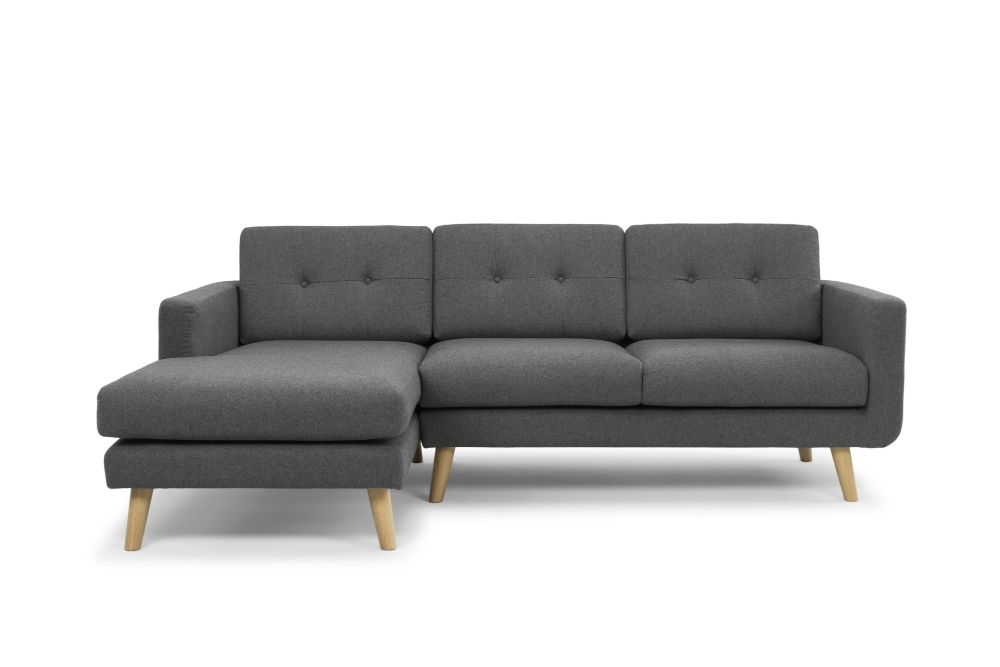 Olav Corner Sofa   Charcoal Grey   Left Hand Facing Chaise