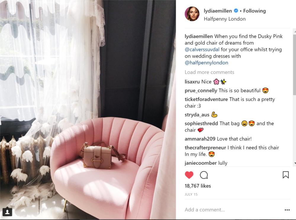 Lydia Millen - mega glam vlogger and Instagram star