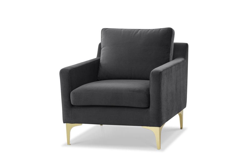 Century Luxe   Dark Grey Velvet Armchair