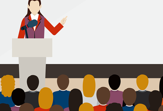 Graphic of woman speaking at conference