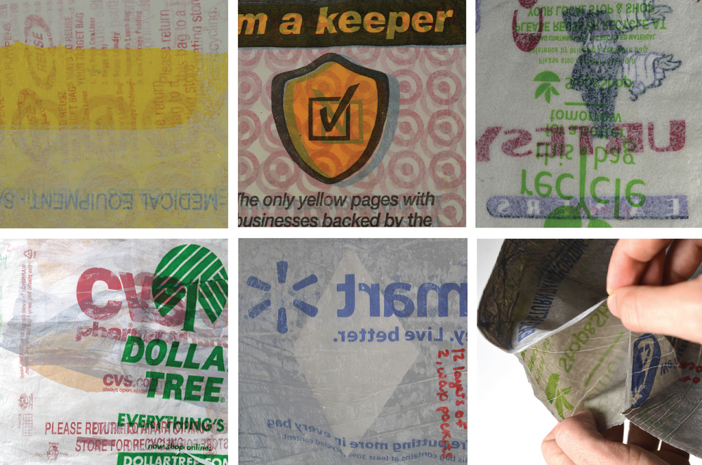sheet plastic samples created from plastic bags pressed together in a tortilla press