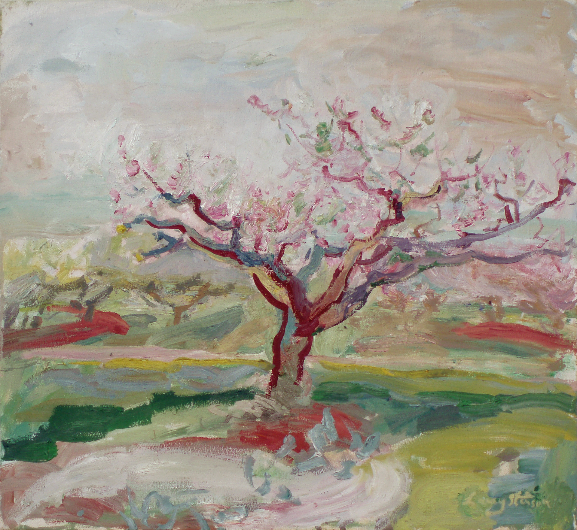 Peach Tree in Bloom, sketch, by Lacey Stinson