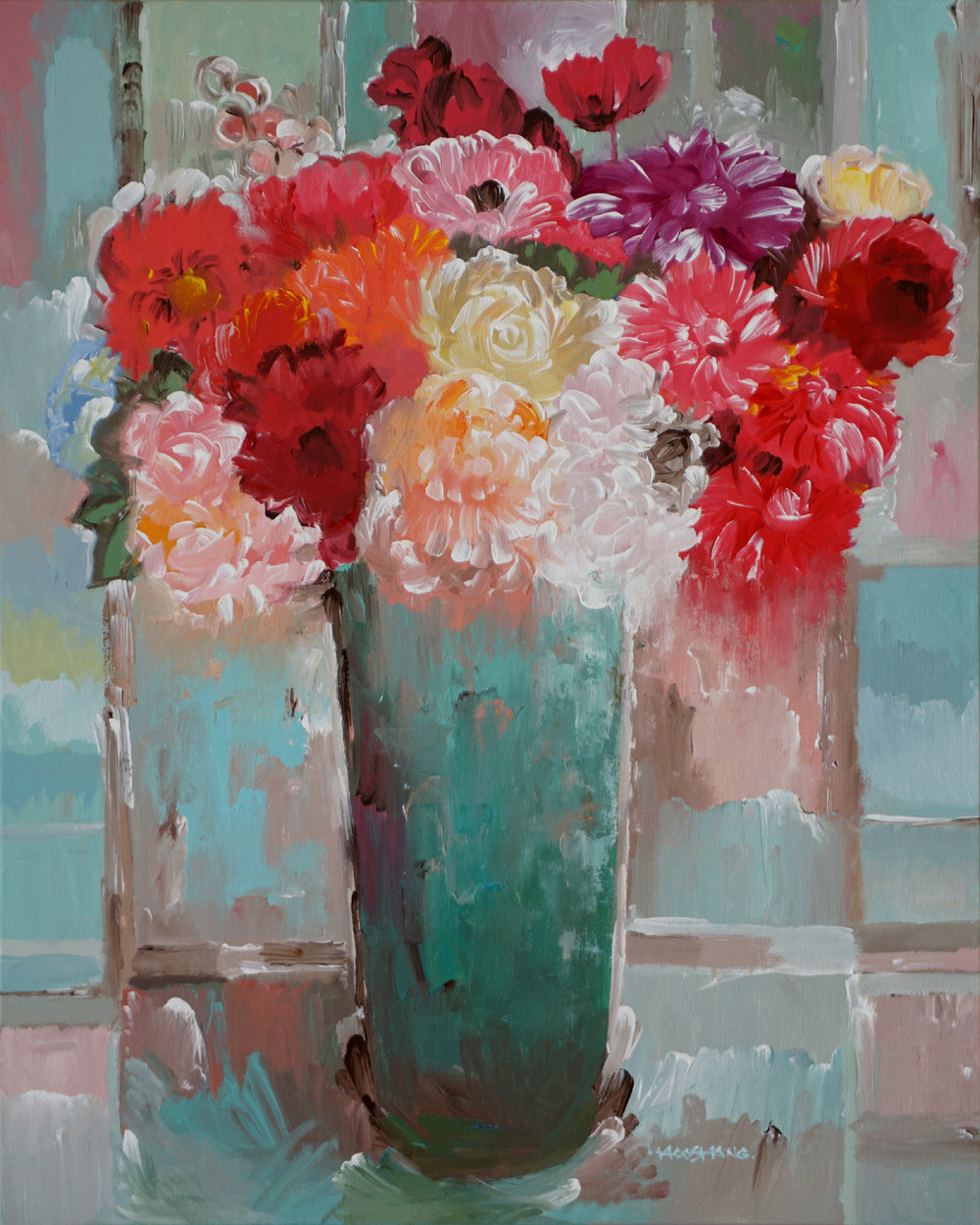 Flowers in a Green Vase, 24x30 inches, acrylic on canvas