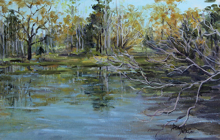 Early Spring Oglesby Pond UA, Oil Plein Air, 7 X 11Inches 160321.jpg
