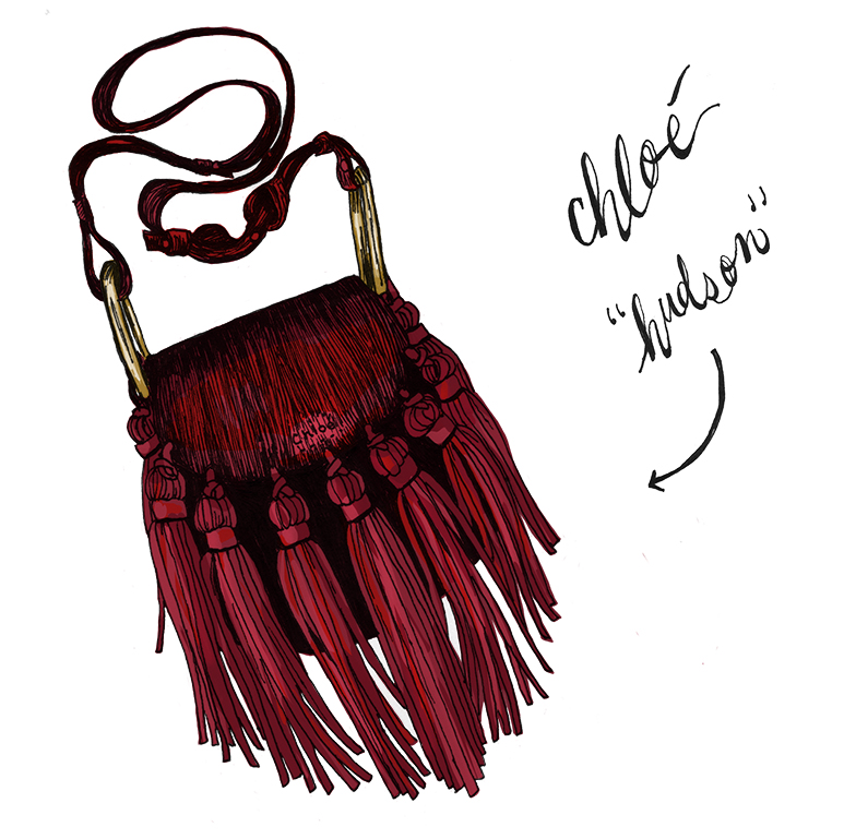 "Chloe ""Hudson"" red leather and suede tassel mini bag.  Fall 2015."