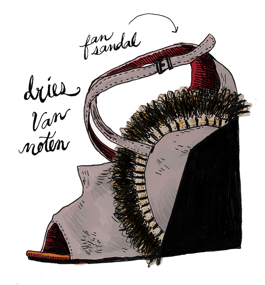 I love Dries Van Noten.  Hes such a weirdo.  His designs are really textural and use a lot of beautiful, unusual textiles--the kind that you can't help but want to reach out and touch.  This shoe was really fun to draw.  If I owned these I would wear them EVERY DAY.   Dries Van Noten fan sandal.  Grey velvet.  Fall 2015.