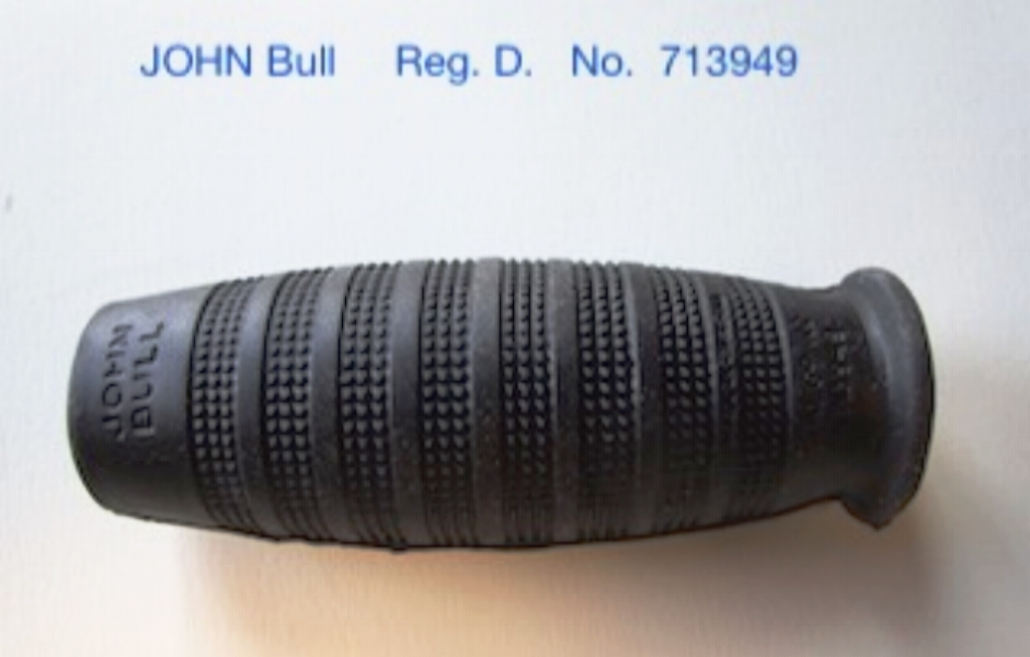 JOHN BULL        Cushion Rubber Grips                     Black   or    Red                                                               Pair of grips   -----  $ 45.00                                JOHN BULL          black grips   were specified  on all Models of the    CCM  Flyte    bicycle      1936 to 1940.                                                                       CCM    catalogue No.    831