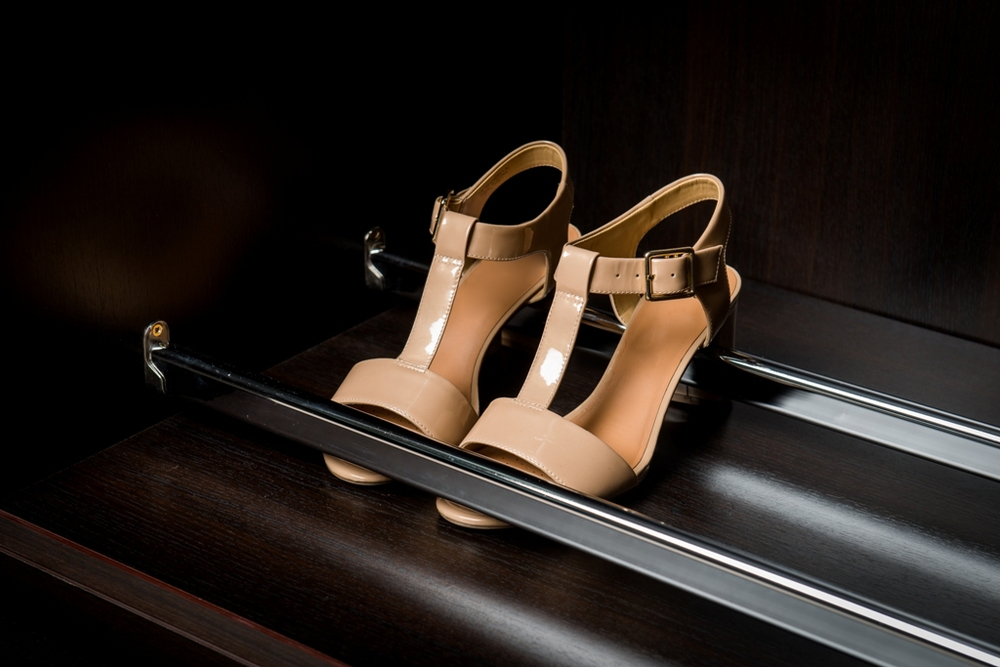Double rail pullout shoe shelves                                                                                              Keep your shoes at an accessible angle.