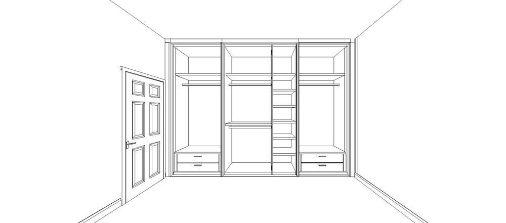 White Matt Lacquer Shaker Doors with Silver Mirror Design Drawing