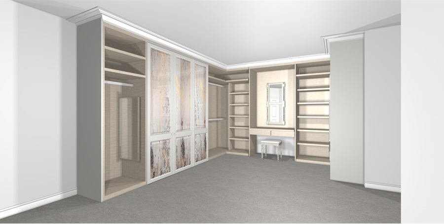 Linen dressing room with Shaker doors