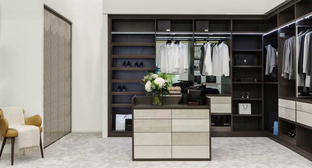 Anthracite Walk-In Dressing Room with Decorative Glass Hinged Doors and Drawer Fronts