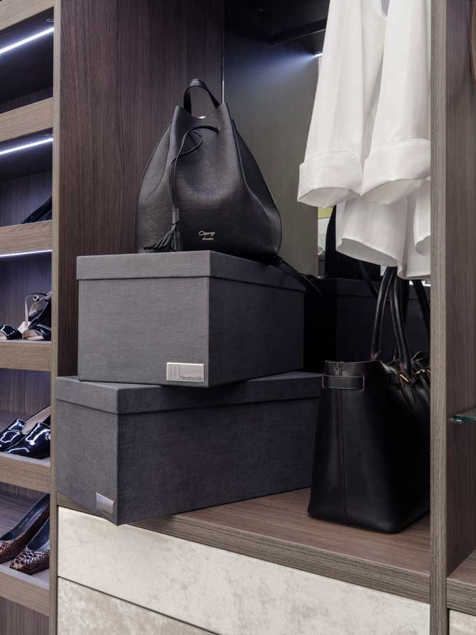 Neatsmith Storage Boxes  These stylish Anthracite storage boxes are great for storing accessories or out-of-season garments neatly and efficiently. They will fit perfectly in your Neatsmith bespoke wardrobe and are a great way to use higher shelving.