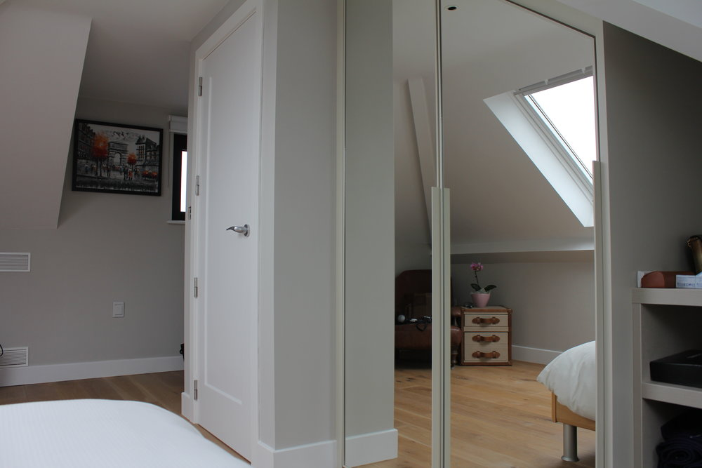 Aluminium Powder Coated Frame in Light Dove Grey Matt Lacquer with Silver Mirror Angled Hinged Wardrobe