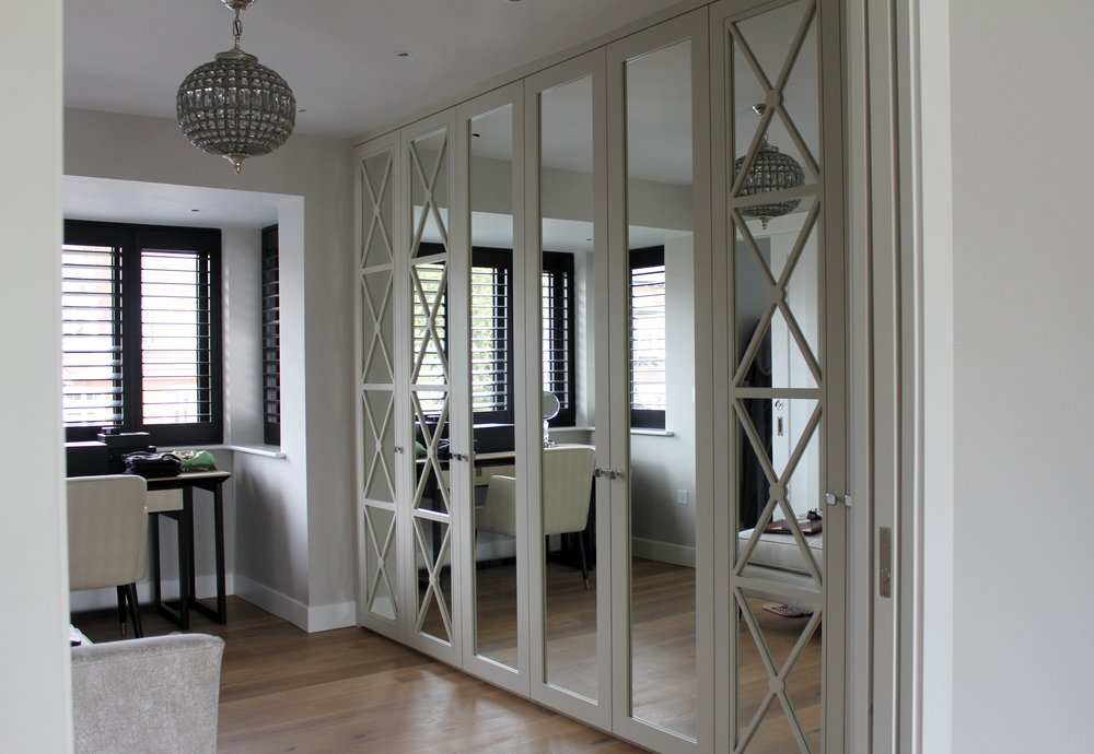 Light Dove Grey Matt Lacquer Castille Doors with Silver Mirror & Grey Matt Lacquer Shaker Doors