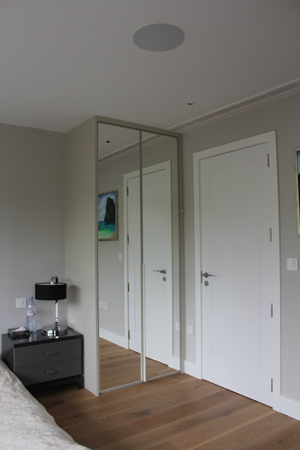 Aluminium Powder Coated Frame in Light Dove Grey with Silver Mirror Hinged Wardrobes