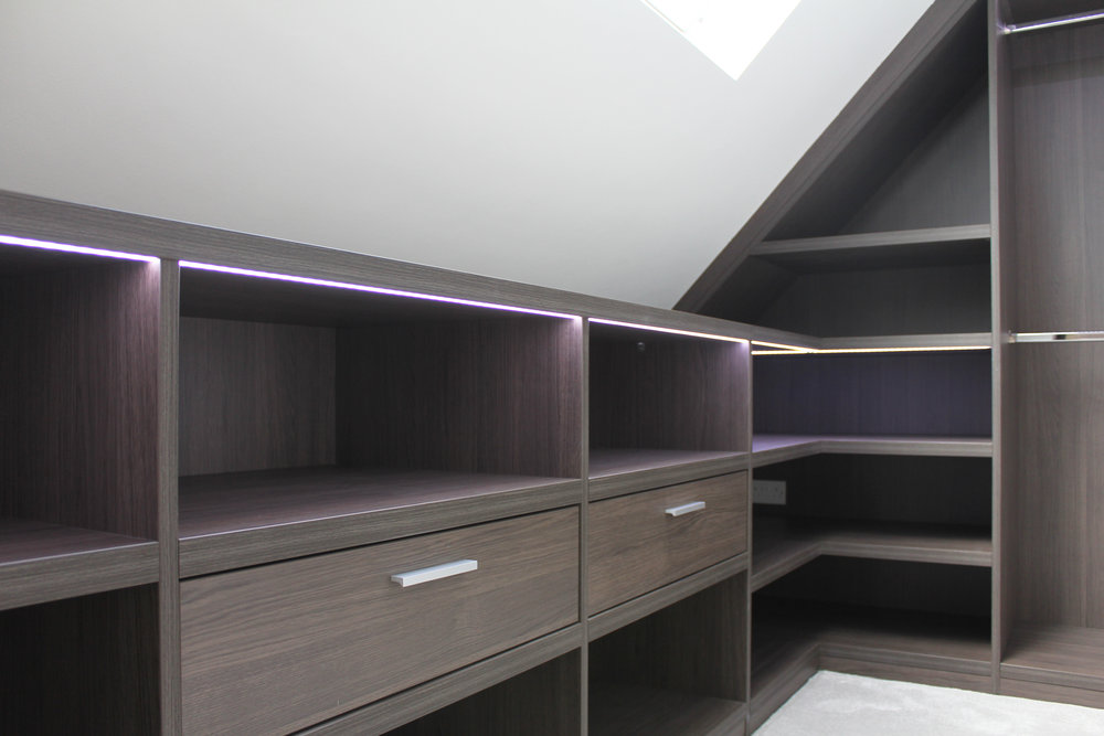 Anthracite Walk In Wardrobe with LED lighting