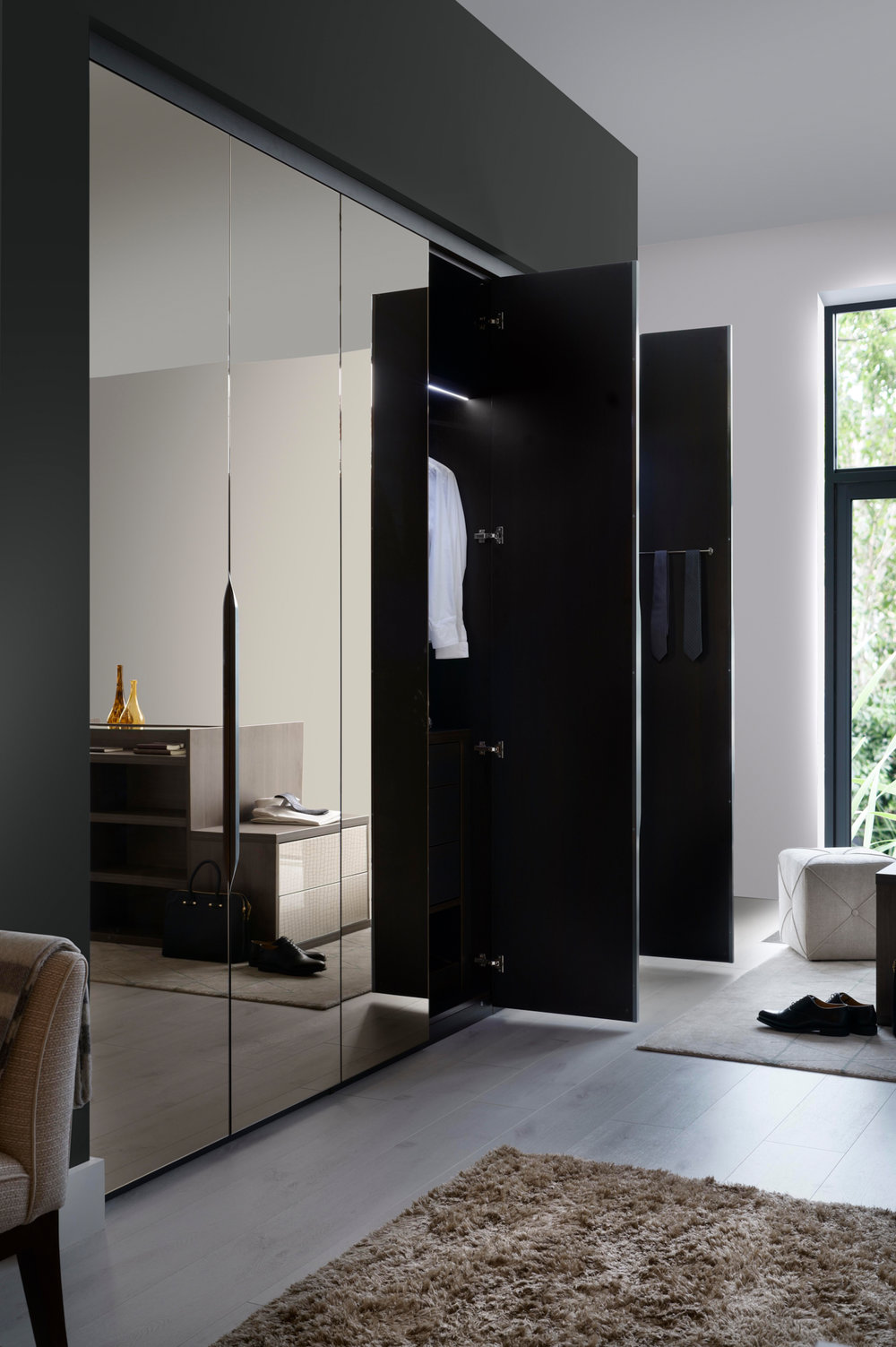 Frameless Bronze Mirror Doors