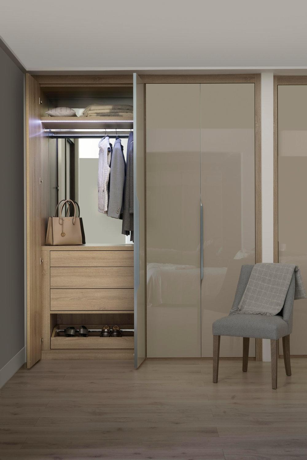 Frameless Glass Doors in Stone Grey