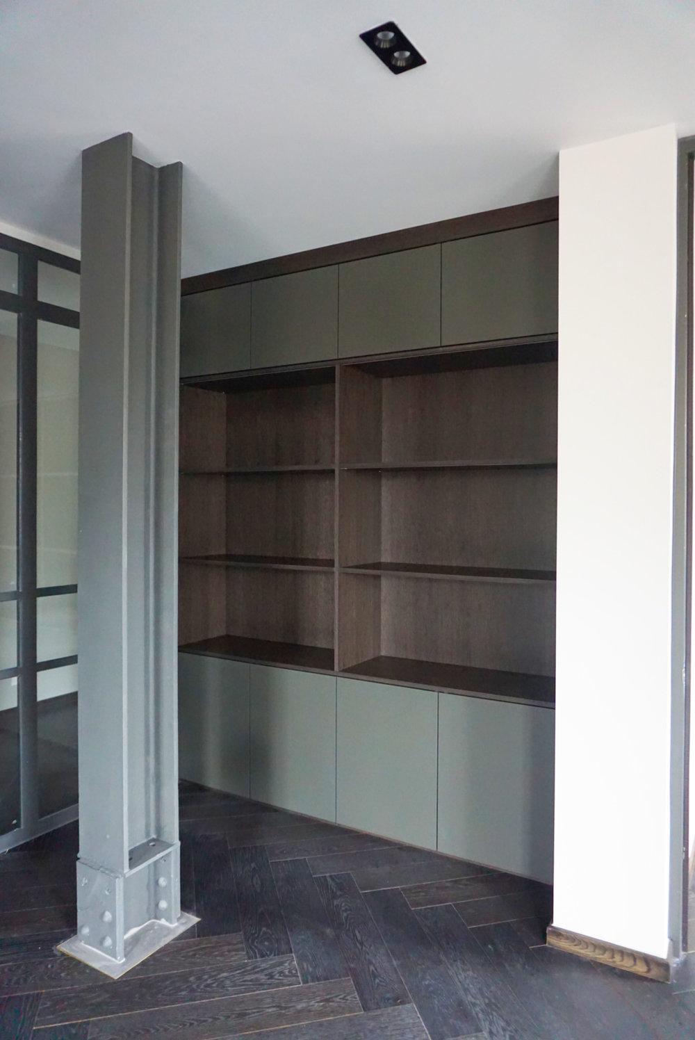 Dark Oak Bookshelf with Bespoke COlour Matt Lacquer Doors (2).jpg