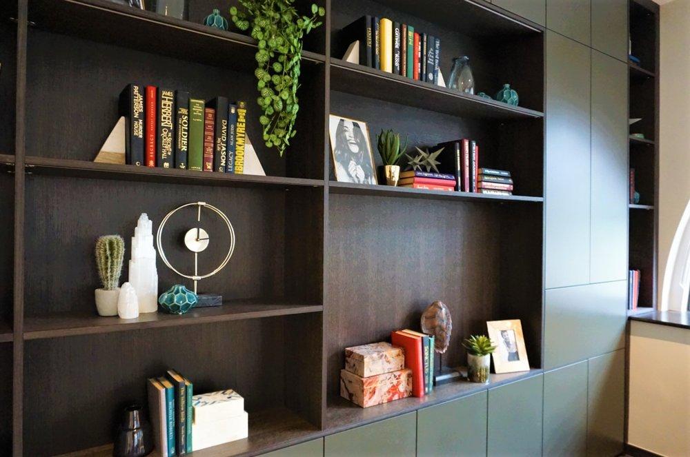 Dark Oak Bookshelf with Bespoke Colour Matt Lacquered Doors (4).jpg