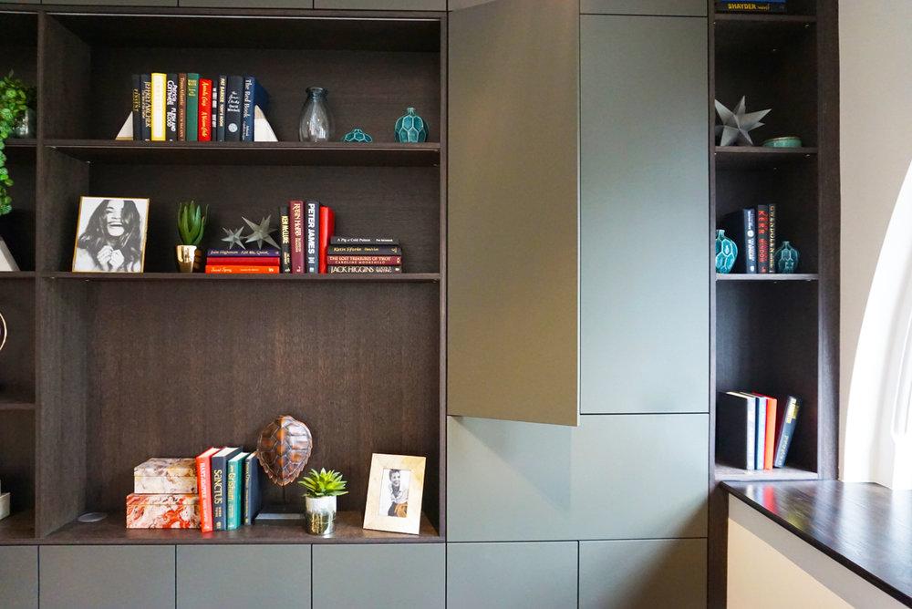 Dark Oak Bookshelf with Bespoke Colour Matt Lacquered Doors (6).jpg